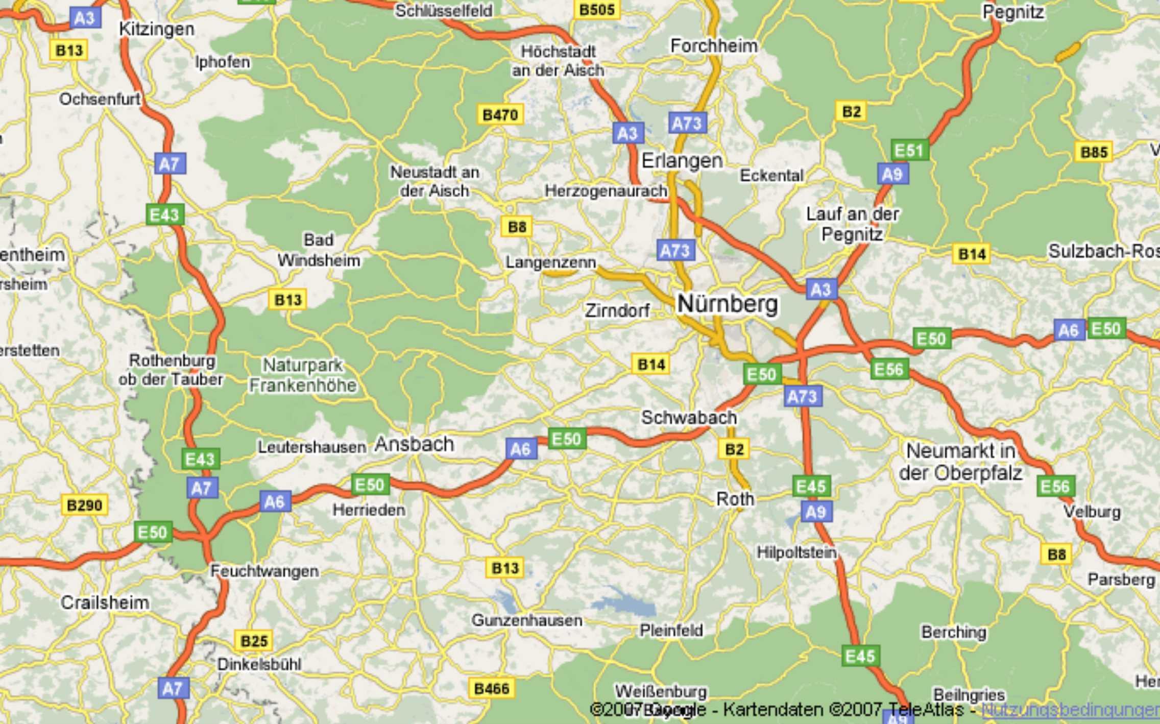 Mittelfranken Karte.Zuruck Zur Mittelfrankenkarte